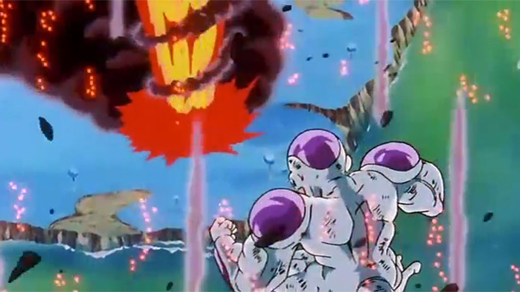 O Frieza νικά στέλνοντας τον Goku στη λάβα